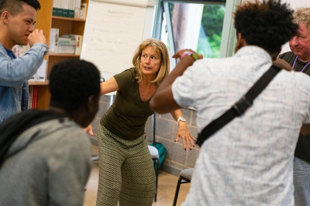 Ava Hunt running a drama workshop